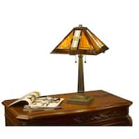 Amber/Green/White Hand-cut Glass Tiffany-style Mission Aztec Table Lamp