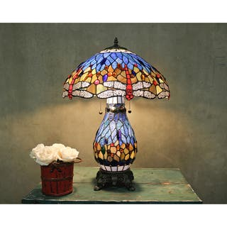 Tiffany style lighting for less overstock tiffany style blue dragonfly table lamp with lighted base aloadofball Gallery