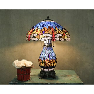 Tiffany-style Zinc Alloy Blue Stained Glass Dragonfly Table Lamp with Lighted Base