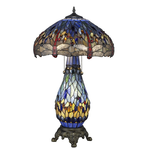 Superior Tiffany Style Blue Dragonfly Table Lamp With Lighted Base   Free Shipping  Today   Overstock.com   1135229