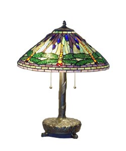 Serena d'italia Tiffany-style Green Dragonfly Table Lamp with library base