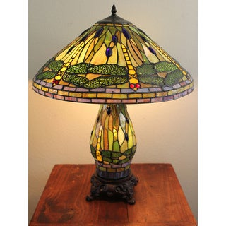 Tiffany-style Yellow Dragonfly Table Lamp with Lighted Base