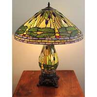 Shop tiffany style yellow green dragonfly table lamp free serena ditalia tiffany style green dragonfly table lamp with lighted base aloadofball Image collections