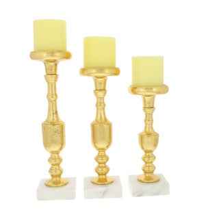 Classic Golden Candle Holder, Set Of 3