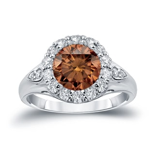 Auriya 14k Gold 3 1/3ct TDW  Round Cut Diamond Halo Engagement Ring (Brown, SI1-SI2)