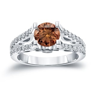 Auriya 14k Gold 1 1/2ct TDW  Round Cut Diamond Engagement Ring (Brown, SI1-SI2)