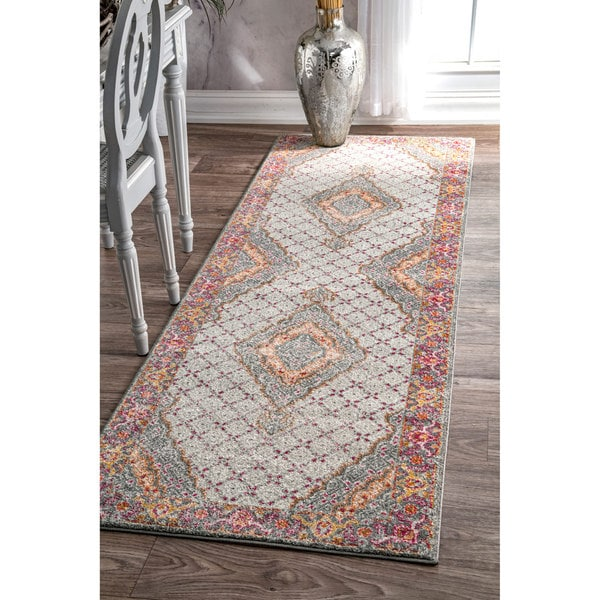 nuLOOM Traditional Medaillion Floral Border Runner Multi Rug - 2'8 x 8'