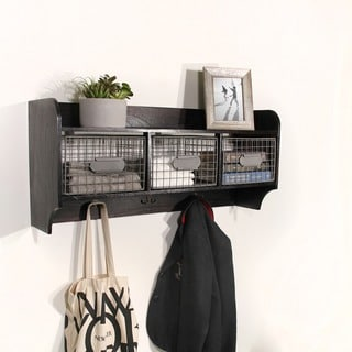 Wood Wall Shelf with 3 Wire Baskets and Hanging Hooks