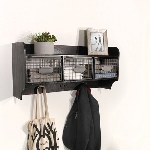 Shop Wood Wall Shelf With 3 Wire Baskets And Hanging Hooks