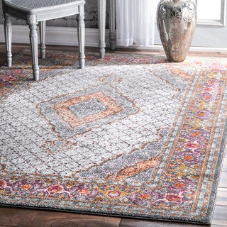 nuLOOM Traditional Medallion Floral Border Multi Rug (8' x 10')