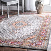 nuLOOM Traditional Medallion Floral Border Multi Rug - 8' x 10'