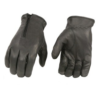 Men's Black Premium Leather Zippered Unlined Driving Gloves