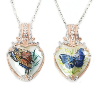 Michael Valitutti Palladium Silver Heart Mother of Pearl Shell & White Zircon Butterfly Pendant