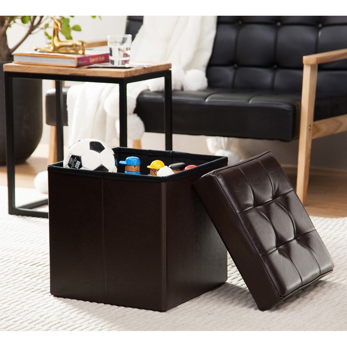 Porch & Den Boerum Hill Nevins Foldable Tufted Leather Storage Ottoman Cube