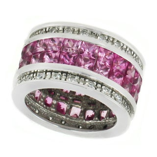 Michael Valitutti Sterling Silver Princess & Round Pink Cubic Zirconia Eternity Ring