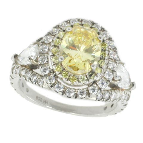 Gems en Vogue Sterling Silver Yellow Cubic Zirconia Ring