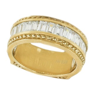 Michael Valitutti Sterling Silver Yellow Plated Baguette Cubic Zirconia Ring