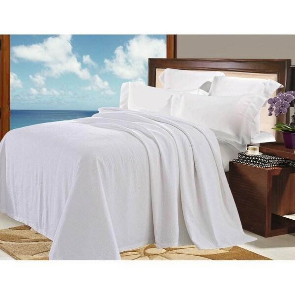 Natural Comfort Matelasse Blanket Coverlet in White Pebble Pattern
