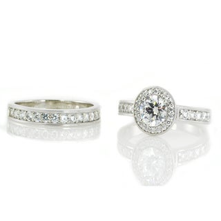 Michael Valitutti Sterling Silver Round Cubic Zirconia Stackable Ring Set of 2