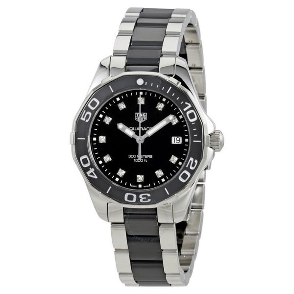 Tag Heuer Women's WAY131C.BA0913 'Aquaracer' Diamond Two-Tone Stainless steel and Ceamic Watch. Opens flyout.