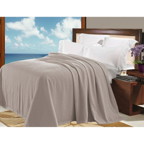 Natural Comfort Matelasse Blanket Coverlet in Washed Taupe Pebble Pattern