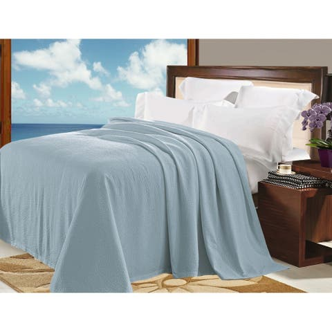 Natural Comfort Matelasse Blanket Coverlet in Water Blue Pebble Pattern