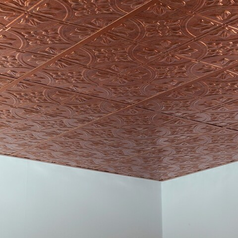 Fasade Traditional Style #2 Muted Gold 2 ft. x 4 ft. Lay-in Ceiling Tile - 2' x 4'