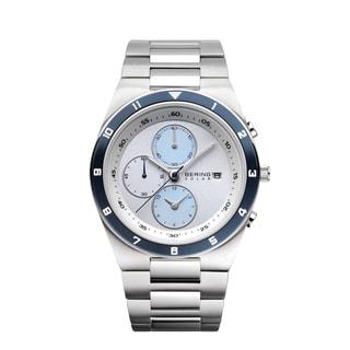 Bering Men's Chronograph Solar Blue Ceramic Stainless Steel Watch 34440-707