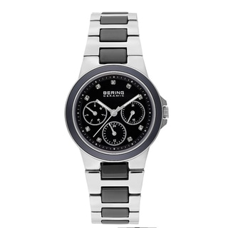 Bering Women's Chrono Crystals Black Ceramic Stainless Steel Watch 32237-742