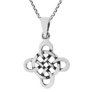 Handmade Quaternary Celtic Knot Cross Sterling Silver Necklace (Thailand)
