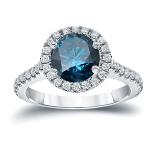 Auriya 14k Gold 2 2/5ct TDW  Round Cut Diamond Halo Engagement Ring (Blue, SI1-SI2)
