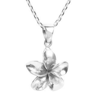 Handmade Cute Hawaiian Plumeria Flower Sterling Silver Necklace (Thailand)