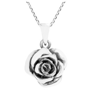 Handmade Beautiful Blooming Rose .925 Sterling Silver Necklace (Thailand)