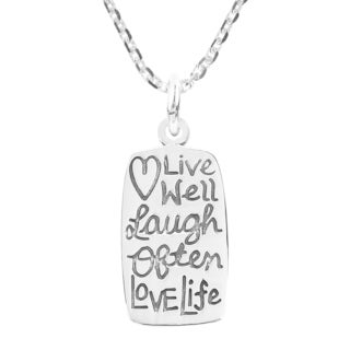 Live Well Laugh Often Love Life Message 925 Silver Necklace Thailand