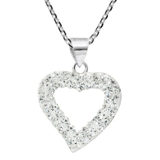 Handmade Gleaming Romance Open Heart Crystal Sterling Silver Necklace (Thailand)