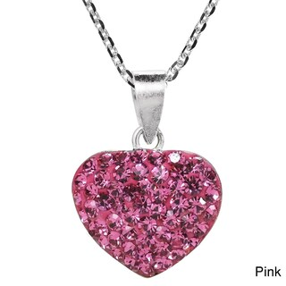 Handmade Sparkling Heart Crystal Encrusted Sterling Silver Necklace (Thailand)