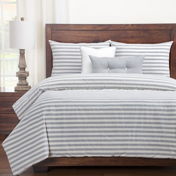 Siscovers Luxury Farmhouse Pewter Cotton-blend Cottage Down Alt Duvet Set - Eggshell