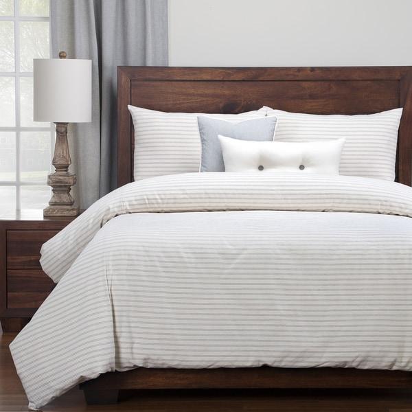Siscovers Luxury Ticking Stripe Pewter Farmhouse Cotton-blend Down Alt Duvet Set - Cream