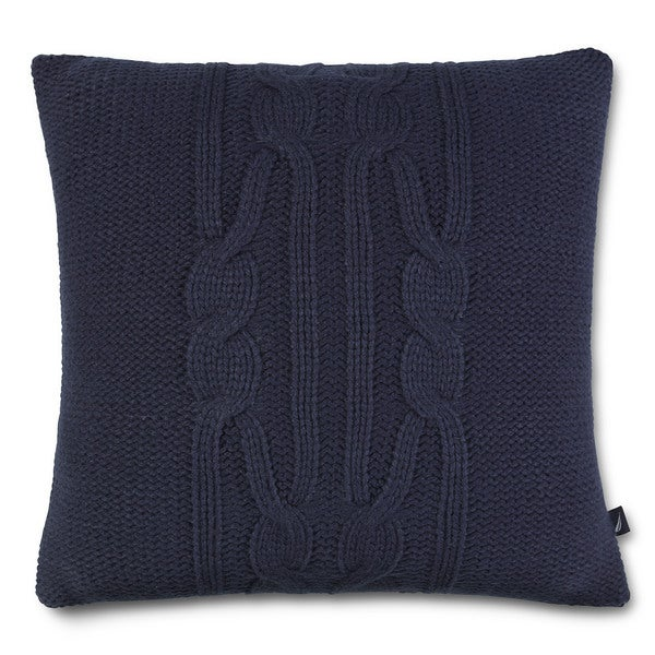 Nautica Decorative Pillows Navy : Nautica Bartlett Knit Navy Square Pillow - Free Shipping On Orders Over $45 - Overstock.com ...