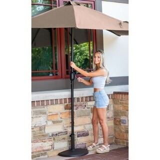 Lanai 9-ft Half Umbrella in Coffee Polyester