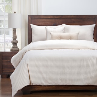 Siscovers Luxury Ticking Stripe Barley Farmhouse Cotton-Blend Down Alt Duvet Set