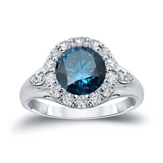Auriya 14k Gold 3 1/3ct TDW  Round Cut Diamond Halo Engagement Ring (Blue, SI1-SI2)