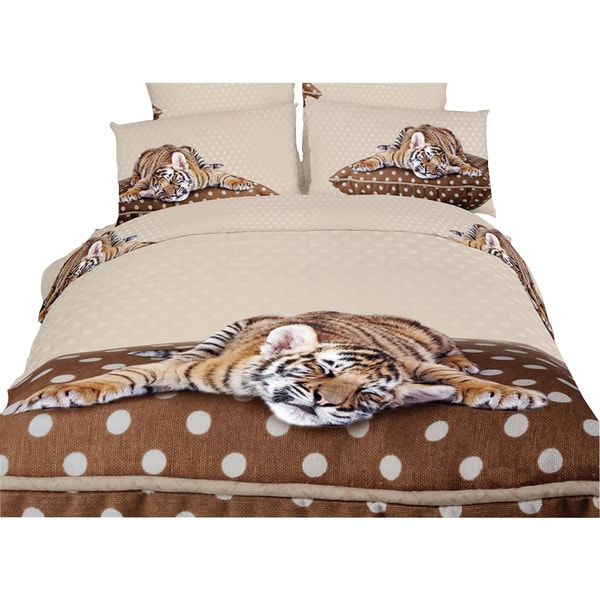 Dolce Mela Home Decorative Sleepy Tiger Duvet Cover and Fitted Sheet Set