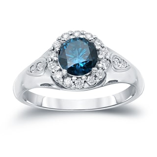 Auriya 14k Gold 1 1/4ct TDW  Round Cut Diamond Halo Engagement Ring (Blue, SI1-SI2)