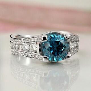 14k Gold 3 1/4ct TDW Modern Blue Diamond Engagement Ring by Auriya