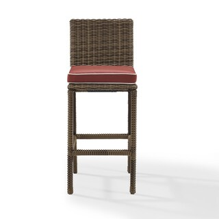 Bradenton Outdoor Brown Wicker Bar-height Stools with Sangria Cushions (Set of 2)