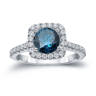 Auriya 14k Gold 1 2/5ct TDW  Round Cut Diamond Halo Engagement Ring (Blue SI1-SI2)