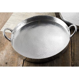 """17"""" Round Hammered Scalloped Tray with Handles"""