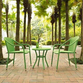 Palm Harbor 3 Piece Outdoor Wicker Café Seating Set in Green-- 2 Stacking Chairs and Round Side Table