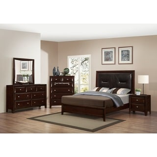Mateo 077 Cappuccino Finish Wood Bed Room Set, King bed, Dresser, Mirror, Night Stand